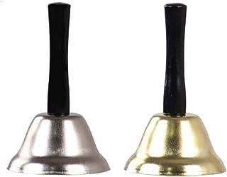 TOYANDONA 2pcs Metal Hand Bell Service Handbells Musical Percussion Wooden Handle Bells for Wedding Events Decoration Dinn...