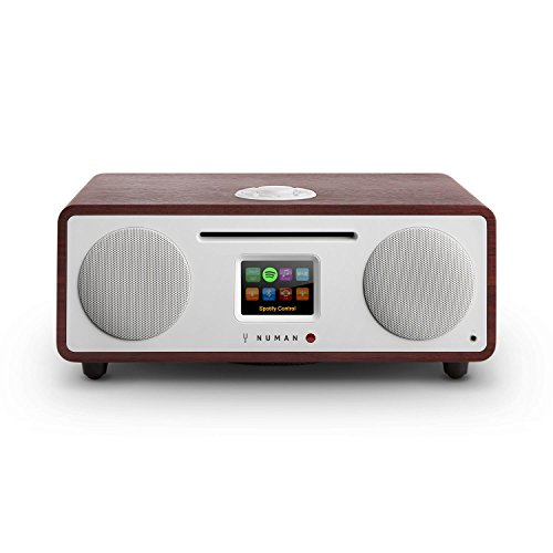 Numan - Two 2.1, Design Internet Radio, Dab/Dab +/ UKW-Sintonizzatore, CD Player, Display TFT, spotify, RDS, Connettivitá Wi-Fi/LAN, Bluetooth, AUX, 2 amplificatori a Banda Larga, Wengé