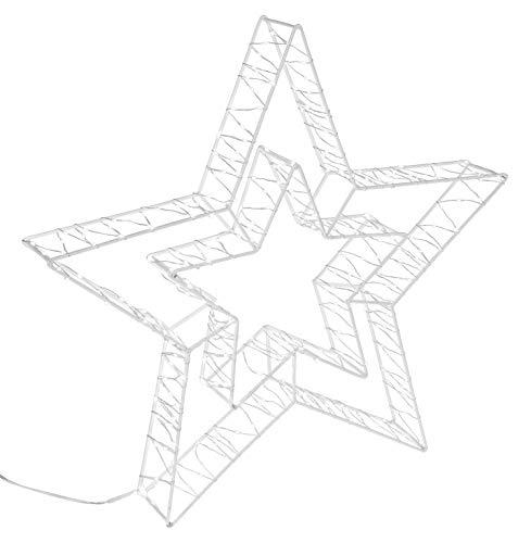 Idena 31484 - Dekoleuchte Stern aus weißem Metall, mit 300 LED in warm weiß, 8 Stunden Timer Funktion, Innen und Außenbereich, für Weihnachten, Deko, als Stimmungslicht, ca. 49 x 47 x 6 cm