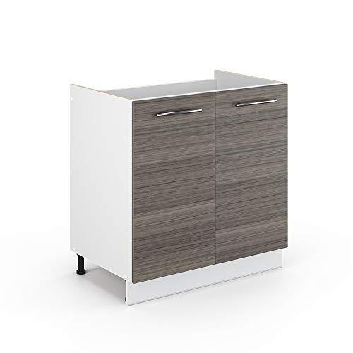 Vicco Küchenschrank Hängeschrank Unterschrank Küchenzeile Hochglanz Fame-Line (Edelgrau, Spülenunterschrank 80 cm)