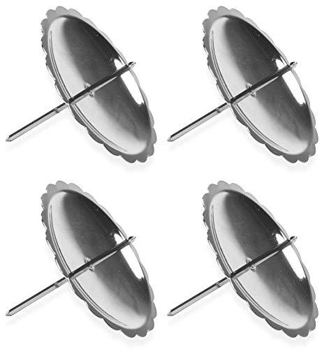 Riffelmacher 10702 Adventskerzenhalter 4 Stück 6 cm - Silber - Schöne Metall Halter Stumpenkerzen Adventskranz Weihnachten Adventszeit Weihnachtszeit Dekoration