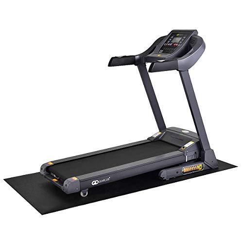 COSTWAY Bodenschutzmatte für Laufband und Heimtrainer, Unterlegmatte für Bodenschutz, Fitnessgerätematte, Schutzmatte, Multifunktionsmatte, Sportmatte, schwarz