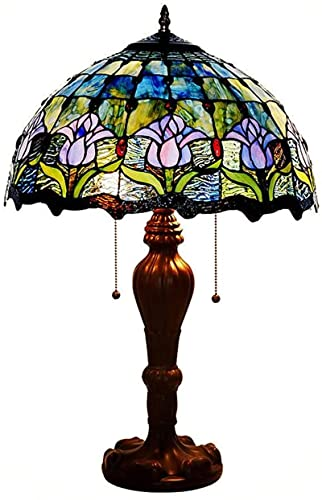 Lámpara de mesa de estilo Tiffany Blue, lámpara de 2 luces Tulip Living Living Fixturing Fixtures 40W Zinc Aleey Base H 锛? 4 pulgadas para el comedor del dormitorio-b