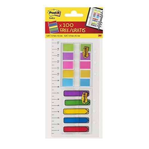 Post-it - Righello Index con linguette adesive a freccia Index (100 pezzi in 5 colori assortiti) e linguette Index (80 pezzi in colori assortiti)