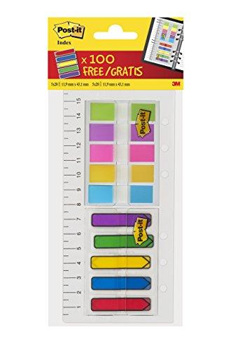 Post-it Haftstreifen Index Mini 683684LP – Farbige Haftnotizen in 11,9 x 43,2 mm – 2 x 5 Haftstreifen Blöcke à 20 Blatt im praktischen Etui