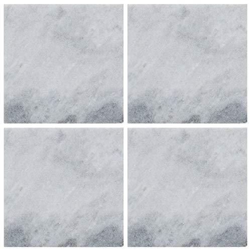 Creative Tops Naturals - Set di 4 sottobicchieri in marmo, colore: bianco, 10 cm