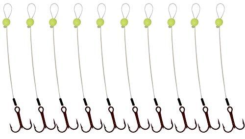 Tooth Shield Tackle 10-Pack Walleye Stinger Hooks/Trailer Hooks 15lb Fluorocarbon Leader Material Red VMC Hooks [Chartreuse] (Hook Size: 6)