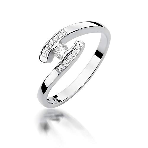 Women's Solitaire Promise Ring Engagement Proposal Ring 585 14 Carat Gold Natural Real Diamond Diamonds Diamonds 61 (19.4) White Gold