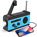 CrazyFire Solar Hand Crank NOAA Weather Radio, Emergency Radio with LED Flashlight and 2000mAh Portable Smart Phone Charger