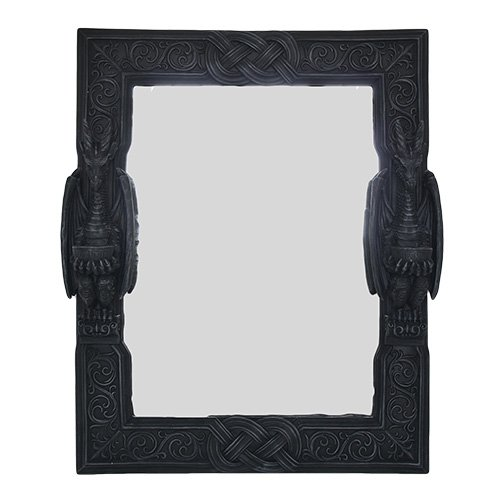 Large 23' Tall Celtic Knotwork Dual Saurian Servant Gothic Dragon Wall Mirror Plaque Home Decor