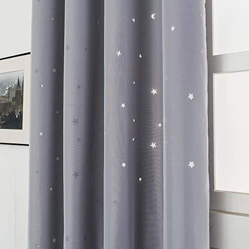 Galapara Cortinas Estrellas Dormitorio Infantil Niño Bebe Mosquiteras Opacas Hueco Doble Capa Hilo de Tela Aislamiento térmico Cortinas de oscurecimiento de habitación para Habitacion Juvenil