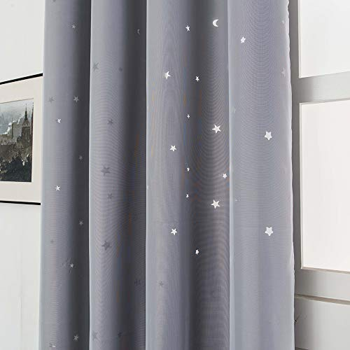 Galapara Cortinas Estrellas Dormitorio Infantil Niño Bebe Mosquiteras Opacas Hueco Doble Capa Hilo de Tela Aislamiento térmico Cortinas de oscurecimiento de habitación para Habitacion Juvenil 1pc