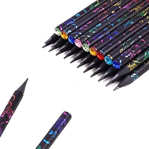 Yalulu 12 Stück HB Schwarz Schreiben Malen Zeichnen mit Diamant Schreiben Bleistifte Skizze Bleistift