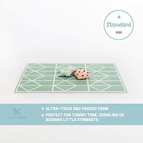 Krabbelmatte von Toddlekind  Spielmatte in Premium Qualität Extra Dicke, Abwischbare Puzzlematte Grün, multifunktional Kinder Spielteppich 0m+