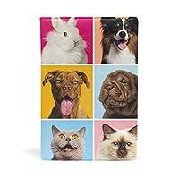 SoreSore(ソレソレ) ブックカバー a5 アニマル 動物柄 パグ 可愛い 猫柄 犬柄 皮革 レザー 文庫本 ノートカバー メモ 手帳カバー 革 A5 かわいい おしゃれ