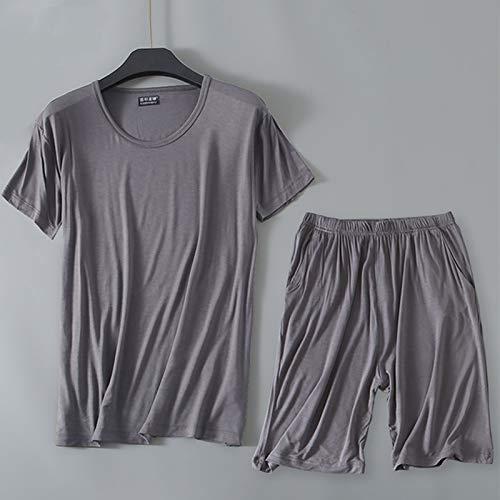 YHSW Pijamas de Hombre,Pantalones Cortos de Manga Corta de Dos Piezas,Pijamas de algodón Pijama de Ropa Informal Conjunto de Tops y Pantalones de Hombre (L-6XL)