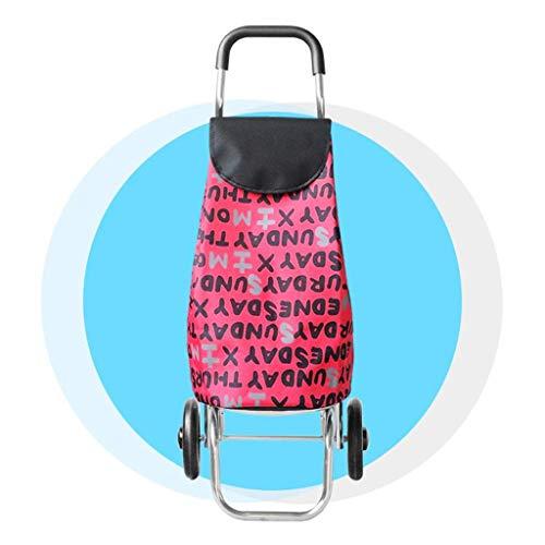 L.ORE Treppensteiger Einkaufswagen Kleinkarre Faltbarer Tragbarer Gepäckwagen Altwagen Anhänger Karre Rot