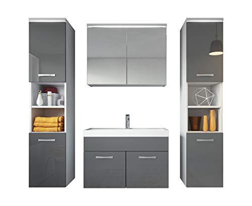 Badezimmer Badmöbel Set Paso XL LED 80 cm Waschbecken Hochglanz Grau Fronten - Unterschrank 2x Hochschrank Waschbecken Möbel
