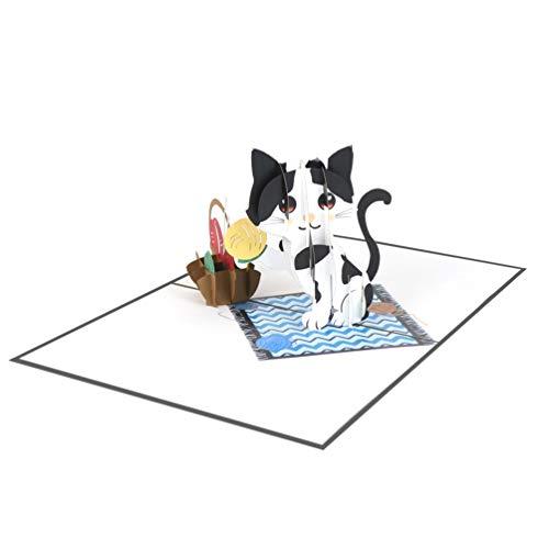 Favour Pop Up Glückwunschkarte zum Geburtstag. Ein filigranes Kunstwerk, das sich beim Öffnen als Katze mit Wollknäuel entfaltet. TB130