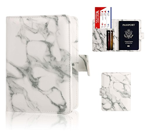Passport Holder Cover Case - Ratesell Marble Design Pu Leather RFID Blocking for Women Men Gray