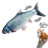 Sinicyder Katzenspielzeug Fisch, USB Elektrische Plüsch Fisch Kicker Katzenspielzeug mit Katzenminze für Katze, Interaktive Katzenspielzeug zu Spielen, Beißen, Kauen und Treten, 30CM Simulation Fisch