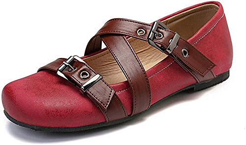 gracosy Women's Loafers Flats Shoes, Summer Slip On Boat Shoes Leather Casual Closed Toe Moccasins Shoes Fashion Comfort Walking Sandals Outdoor Driving Shoes Ladies Flat Ballet Shoes Red 7 UK