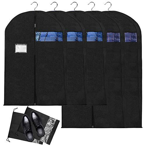 Paquete de 7 Fundas de Ropa con Bolsas de Zapatos,Bolsa de Traje Bolsas de Ropa, Antipolvo Transpirable Bolsa Protectora de Ropa con Ventana Transparente para Camisas Suéter Chaqueta Disfraces
