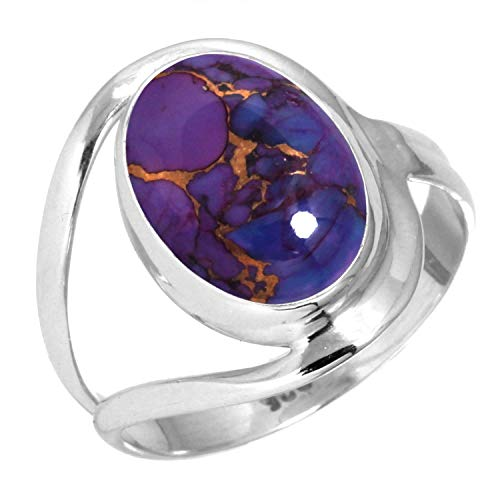 925 Sterling Silver Women Jewelry Copper Purple Turquoise Ring Size 10.5 (99021_CPT_R10.5)