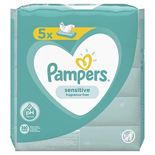 Pampers Baby Feuchttücher Sensitive, Für Empfindliche Babyhaut, Dermatologisch Getestet, 260 Tücher (5 x 52)