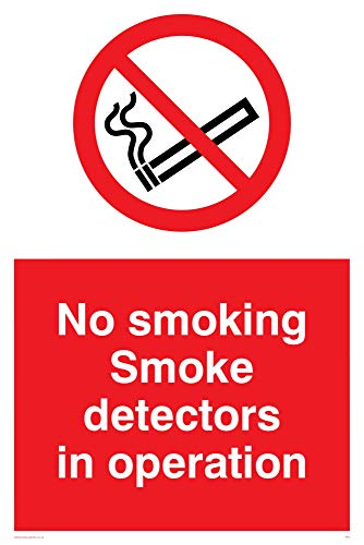 Viking Signs PS7-A2P-AC'No Smoking Smoke Detectors In Operation' Sign,...