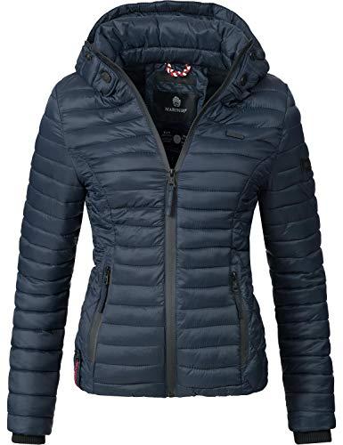 Marikoo Damen Übergangs-Jacke Steppjacke Samtpfote Blau Gr. XL