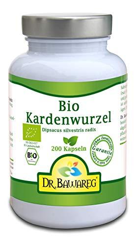 Bio Kardenwurzelpulver - 200 Vegie-Kapseln - 300mg je Kapsel - ohne Zusatzstoffe - Dr. Bawareg made in Germany