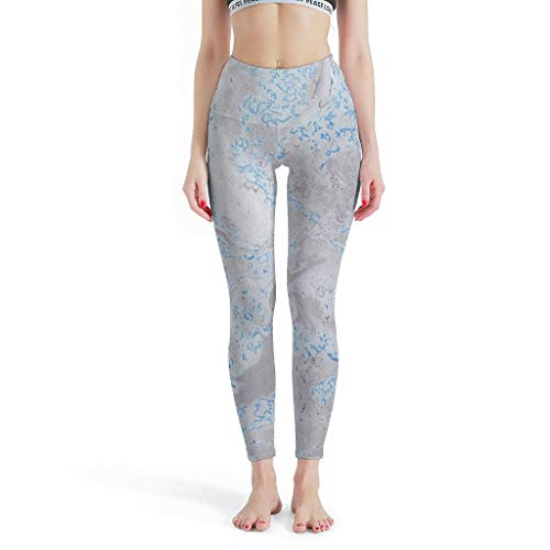 Tentenentent Leggings deportivos para mujer, textura de mármol, no transparentes, push-up, para yoga, estilo moderno, entrenamiento activo, moldeador, color blanco, 6 m