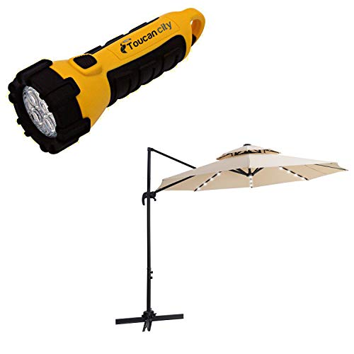 Toucan City LED Flashlight and CASAINC Luxury 9.85 ft. Steel Round Cantilever Solar Tilt Half Patio Umbrella in Beige, Without Base WF-W41921428