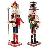 SM SunniMix 2pcs 30cm Modelo de Soldado Cascanueces de Madera Marioneta de Navidad Decoración Navide...