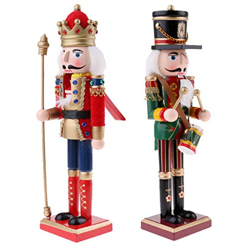 SM SunniMix 2pcs 30cm Modelo de Soldado Cascanueces de Madera Marioneta de Navidad Decoración Navideña