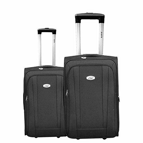 Kofferset 2 TLG Trolley Reisekoffer Koffer Rollkoffer Reisetrolley 2 Rollen #36 SCHWARZ