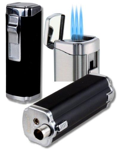 3fach-Jet Zigarrenfeuerzeug - Bohrer Schnappmechanik Eurojet schwarz