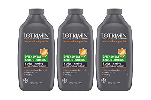 Lotrimin Daily Sweat & Odor Control Medicated Foot Powder, Topical Starch Skin Protectant, 6 Odor-Fighting Ingredients to Control Odor, 6.25 Ounce (177 Grams) Bottle (Pack of 3)