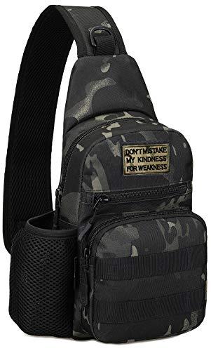 Mochila táctica militar MOLLE cruzada en el pecho, con soporte para botella de agua, bolsa para pañales, moto, bicicleta, mochila (parche incluido), Camo negro. (Negro) - YXLEU-X216-03-BLACKCAMO