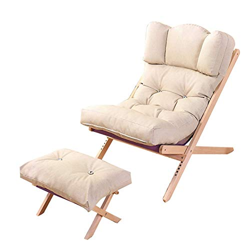 Luie bank met voetenbank, opvouwbare creatieve lounge stoel verstelbare rugleuning slaapbank bank ligstoel houten poten voor binnen woonkamer balkon stoel tuinstoel