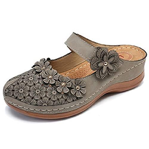 FASZFSAF Sandalias de CuñA para Mujer Zuecos, Sandalias de CuñA Suela Gruesa para Mujer, Zapatos Casuales Retro, Sandalias Huecas Florales Mujer,Gris,41