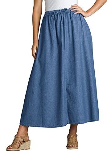 Woman Within Women's Plus Size Flared Denim Skirt - 18 W, Stonewash Blue