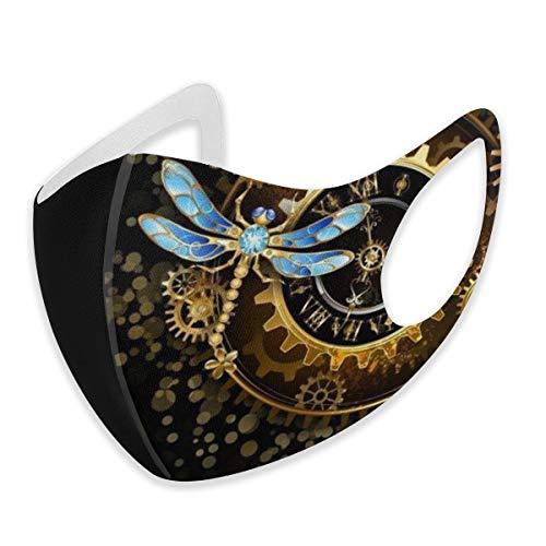 Mundschutz für Erwachsene Gold Steampunk Schwarz Golden Libelle Anti Staub Halbgesicht Bequem für Damen Herren