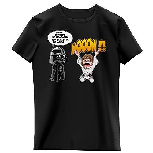 T-Shirt Enfant Fille Noir Parodie Star Wars - Luke Skywalker et Dark Vador - Luke Life Episode I : Un père Qui craint : (T-Shirt Enfant de qualité Premium de Taille 13-14 Ans - imprimé en France)