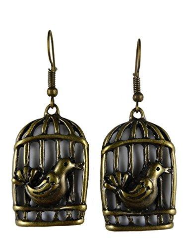 Ausgefallene Ohrringe Ohrhänger Hänger Vintage messingfarben Vogelkäfig Vogel Voliere Vögel 4875