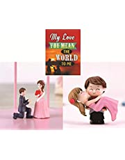 Chocozone Couple Hug Resin Showpiece Couple Miniatures Romantic Gifts for Girlfriend (Hug & Propose Combo)