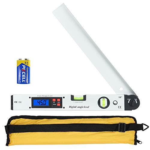 Winkelmesser, Orthland Wasserwaage mit LCD 0-225 °, 400 mm/16 Zoll Winkelmesswerkzeug für vertikale horizontale, Elektronische Lineal mit Aluminium-Gehäuse Batterie Enthalten, Hintergrundbeleuchtung
