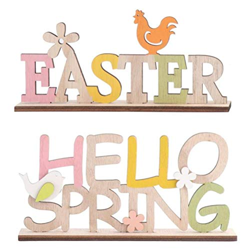 TiKiNi Decoración de escritorio de Pascua, 2 unidades, madera, decoración de hotel, primavera y Pascua, bonita fiesta, festival, decoración para el hogar, salón, mesa, escritorio