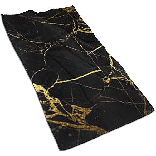 Snbin Papel Tapiz Dorado y Negro Toallas de Microfibra Toallas Toallas de Secado rápido Toallas Deportivas (40x70cm) Uso para Viajes, Fitness, Yoga